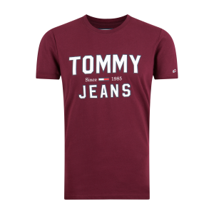 T-SHIRT TOMMY JEANS C-NECK BORDOWY